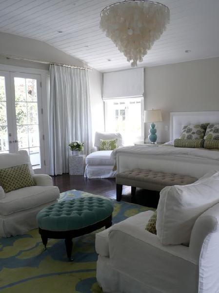 Blue Tufted Ottoman Contemporary Bedroom Farrow