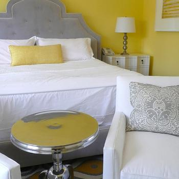 Giannetti Home - bedrooms - yellow and gray bedroom, gray and yellow bedroom, gray and yellow bedrooms, yellow and gray bedroom design, gray and yellow, yellow and gray, gray headboard, gray velvet headboard, yellow pillows, aluminum wine table, yellow walls, , Aluminum Wine Table,