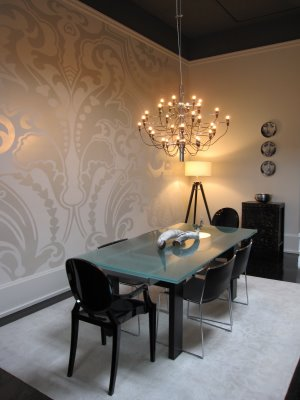 dining rooms - wallpaper, metallic wallpaper, damask wallpaper, dining room wallpaper, frosted glass dining table, dining table with frosted glass top, wallpaper accent wall, dining room accent wall,