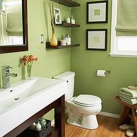 bathrooms - bathrooms, green, walls, paint, color, espresso, modern, vanity, floating, shelves,  Love this color! Anyone know what it is?  green