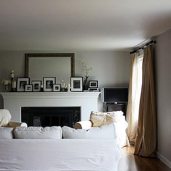 living rooms - fireplace, photo gallery, striped drapes, gray, walls, gray paint gray paint color, yellow striped curtains, abalone gray,  just.jane