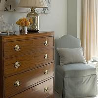 James Michael Howard - bedrooms - slipper chair, blue slipper chair,  Love the antique walnut chest dresser, slipcovered linen gray slipper chair,