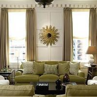 Green brown elegant living room design love the gold sunburst