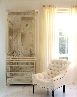 bedrooms - tufted chair, mirrored armoire, white tufted chair, antique mirrored armoire, antiqued mirrored armoire,  Small, chic white sitting