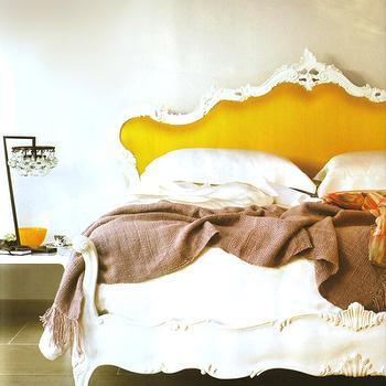 bedrooms - bed, rococo headboard, rococo bed, yellow rococo headboard, yellow rococo bed, yellow headboard, yellow french headboard, yellow headboard,