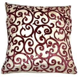 Velvet Lattice Applique Pillow, Gold/ Red (20 x 20
