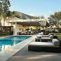 pools - pool lounger, contemporary pool lounger,  elegant pool  modern pool with outdoor chaise lounge