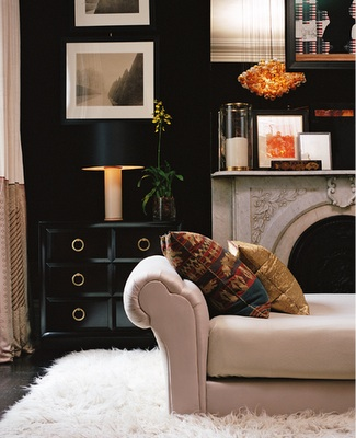 Brandon Barre Photography - living rooms - ivory, taupe, black, glossy, lacquer, chest, brass, round, pulls, hardware, glass, hurricane, taupe, velvet, tufted, settee, white, flokati rug, gray, stone, fireplace, orange, glass, light pendant, chandelier, black, white, vertical, photo gallery, espresso, stained, wood floors, two-tone, silk, ivory, taupe drapes, black walls,