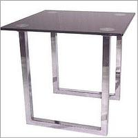 Tables - Lite Source LDK-6140C/BLK - Contemporary Chrome End Table with Tempered Black Glass Top - side table