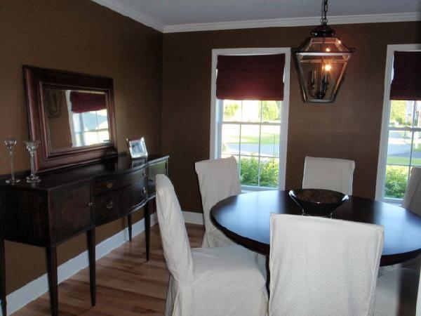 Chcolate Brown Walls Transitional Dining Room
