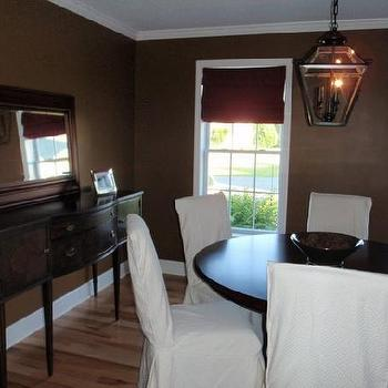 Chcolate Brown Walls, Transitional, dining room, Benjamin Moore blue ridge mountains