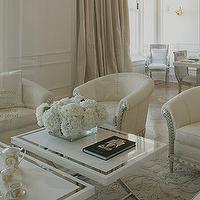 living rooms - white, chairs, glossy, white, lacquer, tables, white, drapes,  all white Versace Home  white chairs, glossy white lacquer accent