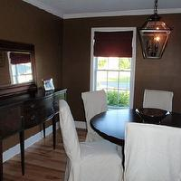 dining rooms - ballard designs slipcovers, PB lantern, PB mirror, vintage sideboard, BHG table, chocolate brown walls, chocolate brown paint colors,