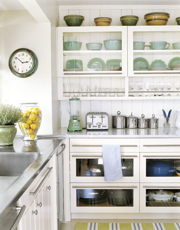 kitchens - celadon, green, white, glass front, kitchen, cabinets, stainless steel, countertops, striped, yellow, blue rug, runner, celadon, green, kitchen, accessories, blender, vase, bowls, plates, kitchen,