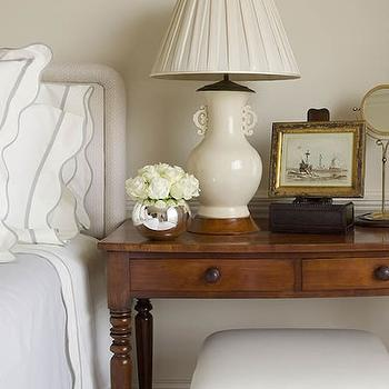 James Michael Howard - bedrooms - farmhouse table, farmhouse console table, console as nightstand, console nightstand, stool, ceramic lamp, cream ceramic lamp, scalloped bedding, white and gray bedding, bamboo stools, faux bamboo stool,