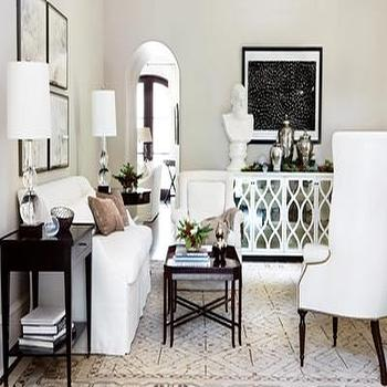 living rooms - mirror sideboard, mirrored sideboard, white wingback chair, espresso end tables, Elisabeth Buffet,  White living room  white sofa,