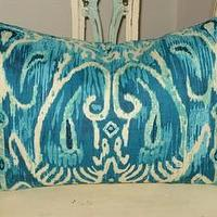 Pillows - Handmade Housewares on Etsy - Turquoise Ikat Pillow by NolaFeather - Etsy IKAT pillow