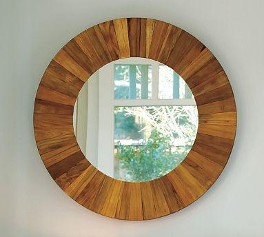 Mirrors - Reclaimed Teak Mirror | Pottery Barn - teak round wood mirror