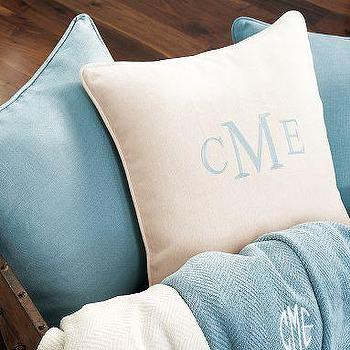 Bedding - Chunky Linen Pillow Cover | Pottery Barn - linen monogrammed throw pillow