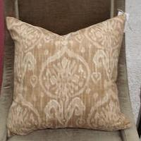 Pillows - Handmade Housewares on Etsy - Sand and Cream Ikat Pillow by NolaFeather - pillow