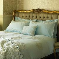 bedrooms - baroque headboard, baroque bed, french bed, french headboard, gray tufted bed, gold french bed, blue bedding,  beautiful bed and headboard