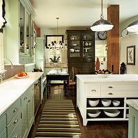 kitchens - green cabinets, green kitchen cabinets, two tone kitchen, striped runner, striped kitchen runner,  beautiful chocolate color , i love
