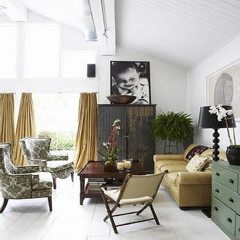 living rooms - gold curtains, gold drapes, gold silk curtains, gold silk drapes, damask chairs, black and white chairs, black and white damask chairs, plank floor, white plank floor,