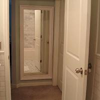 Small and Chic Home - bathrooms - Benjamin Moore - Quiet Moments - hall, green, walls, marble,  A new Ikea purchase for the small, dark hallway