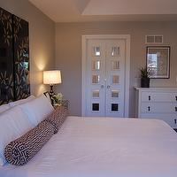 Master Bedroom  Mirrored bi-fold doors and vintage pulls!  Bi-fold doors are from ...