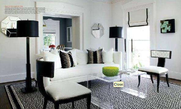 living rooms - Grace Key Lucite Cocktail Table white sofa lucite table greek key black and white glam black floor lamps  From Atlanta Homes and
