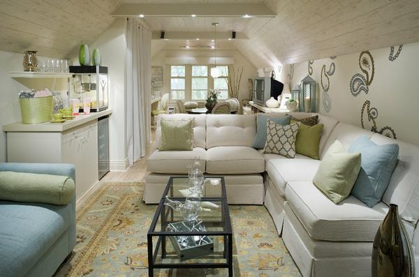 Suzie:  Thanks to Candice Olson Divine Design!   blue & green attic living room design with ...