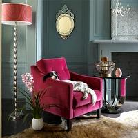 dens/libraries/offices - chair, floor, lamp, deco, table, venetian, mirror, pink, tufted, velvet, chair, floor, lamp, hot pink velvet chair, hot pink velvet tufted chair, pink chair, velvet chair,