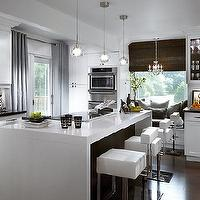 Candice Olson - kitchens - gray, brown, white, glossy, modern, kitchen, island, small, glass, island, pendants, modern, white, barstools, stools, window seat, gray cushions, glass front, kitchen, cabinets, gray, glass tiles, backsplash, gray, silk drapes, dark brown, bamboo, roman shade, candice olson kitchen, candice olson kitchens, candice olson rooms, candace olson design, candice olson interior design, candice olson,