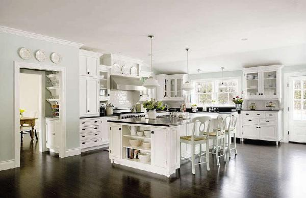 kitchens - Schoolhouse Pendant, pottery barn bar stools, pottery barn counter stools, white kitchen cabinets with black tops,  Kitchen from the