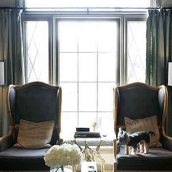 Kristin Cunningham - living rooms - gray chair, wingback chair, gray wingback chair,  Love gray drapes curtains panels, charcoal gray upholstered
