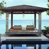 decks/patios - zen pool, outdoor lounger,  via Desire to Inspire  Amazing  outdoor space!  Love the Asian, zen pergola!