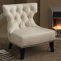 Seating - cream leather tufted chair - chair