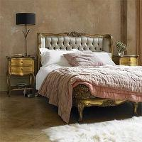 bedrooms: headboard, golden, color,  beautiful bed   gray rococo bed, gold nightstands, flokati rug and pink bedding.