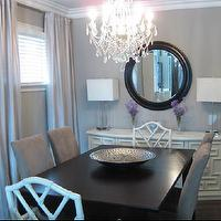 Wallpaper - dining rooms - Benjamin Moore - Stone Harbor - stone harbor, gray walls, gray paint, gray paint colors, white bamboo chairs, bamboo dining chairs, rectangular dining table, espresso dining table, sideboard, white sideboard,