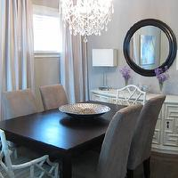 Wallpaper - dining rooms - Benjamin Moore - Stone Harbor - stone harbor, gray walls, gray paint, gray paint colors, white bamboo chairs, bamboo dining chairs, rectangular dining table, espresso dining table, sideboard, white sideboard, gray dining room,