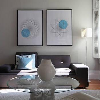 Design Sponge - living rooms - gray walls, gray paint, gray paint colors, powell coffee table, glass top coffee table, Powell Coffee Table,
