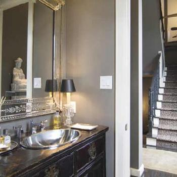 bathrooms - venetian mirror, repurposed washstand, powder room,  Lisa Epley  venetian mirror and chest.