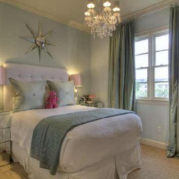 bedrooms - chest as nightstand, mirrored chest, sunburst mirror, white tufted headboard, seafoam green curtains, seafoam green drapes, silk curtains, silk drapes,