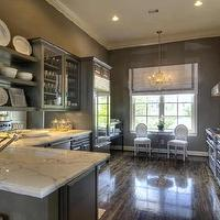 kitchens - gray kitchen cabinets, calcutta gold countertops, gray kitchen cabinets, gray kitchen, gray kitchen, gray cabinets with white marble top, gray kitchen cabinets with white marble tops,