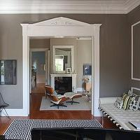 Design Sponge - living rooms - gray walls, greek key rug, black and white rug, black and white greek key rug, gray walls, gray paint colors,