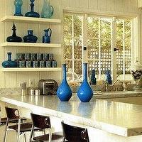 kitchens - kitchen, turquoise, vases, accents, floating shelves, stone, countertops, leather, stools,  beach house kitchen  turquoise blue vases