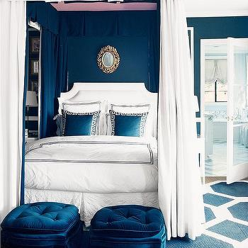 Mary McDonald - bedrooms - blue bedroom, royal blue bedroom, blue walls, greek key pillows, blue greek key pillows, blue ottoman, blue tufted ottomans, blue velvet ottomans, blue velvet tufted ottoman, tufted velvet ottoman, white and blue bedding, bed panels, bed curtains, bed drapes, white and blue bedroom, blue geometric rug,