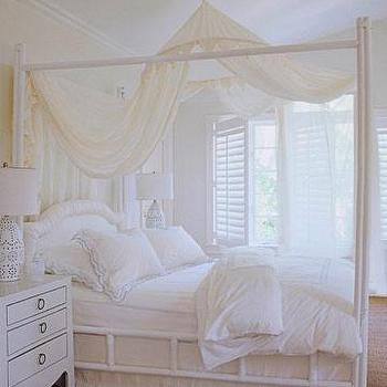 bedrooms: canopy bed, white canopy bed, bamboo canopy bed, white bamboo bed, white bamboo canopy bed, bed canopy, jacqui nightstands,  Romantic