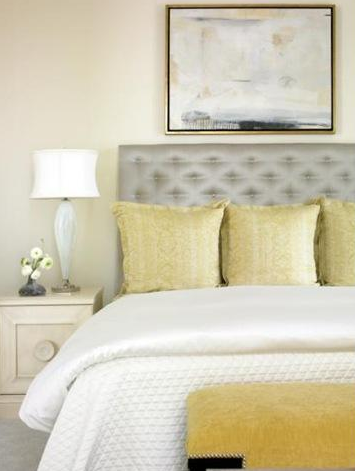 eliware: bedrooms - gray silk tufted headboard golden accents murano lamp yellow silk pillows yellow bench  gorgeous bedroom  Creamy walls, gray silk