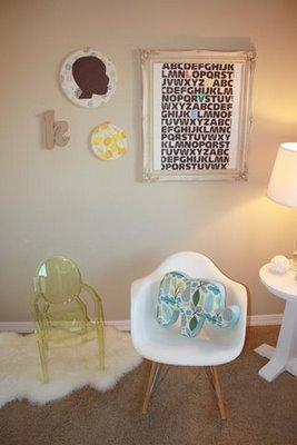 Kenzie Poo - nurseries - ABC Love Print, Kartell Ghost Chair, Eames Molded Plastic Rocker, Dwell Studio Robin Elephant Pillow, Ikea Ludde, ornate frame, baroque frame baroque picture frame, mini ghost chair, kids ghost chair, molded plastic rocker,